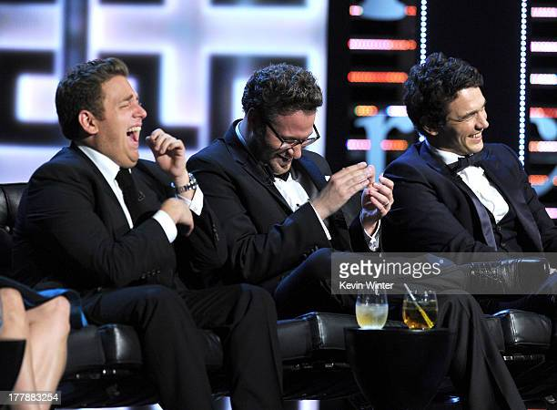 Actor Jonah Hill roast master Seth Rogen and roastee James Franco onstage during The Comedy Central Roast of James Franco at Culver Studios on August...