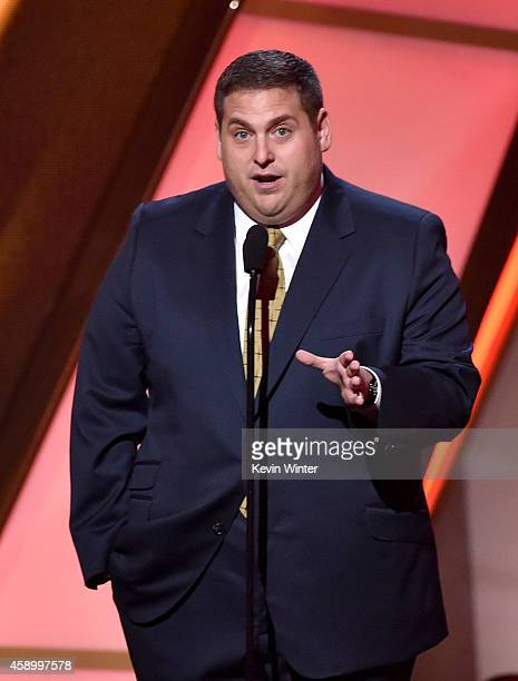 Actor Jonah Hill speaks onstage during the 18th Annual Hollywood Film Awards at The Palladium on November 14 2014 in Hollywood California