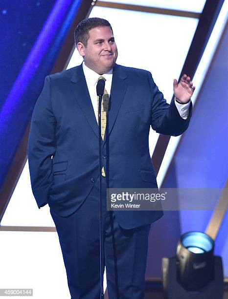 Actor Jonah Hill speaks onstage during the 18th Annual Hollywood Film Awards at The Palladium on November 14, 2014 in Hollywood, California.