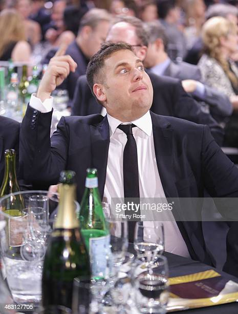 Actor Jonah Hill with Champagne Nicolas Feuillatte attends the 19th Annual Critics' Choice Movie Awards at Barker Hangar on January 16 2014 in Santa...
