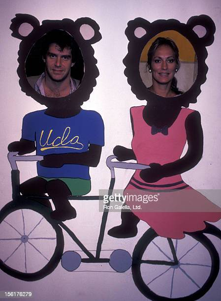 Actor Jonathan Axelrod and actress Sandahl Bergman attend UCLA Mardi Gras Celebration on May 21 1983 at UCLA Campus in Westwood California