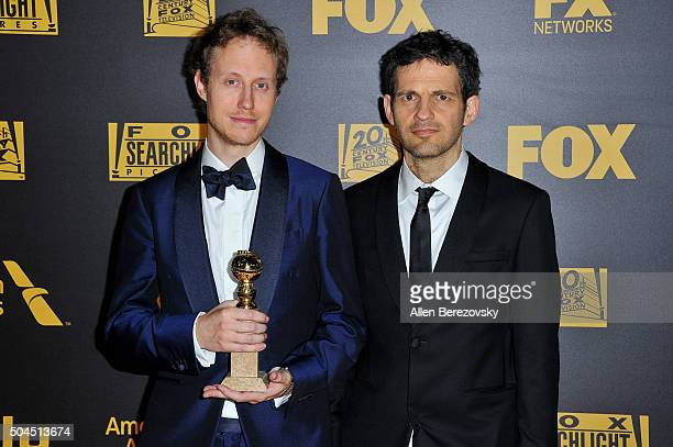 Actor Jonathan Becker and a guest attend Fox And FX's 2016 Golden Globe Awards Party on January 10 2016 in Beverly Hills California