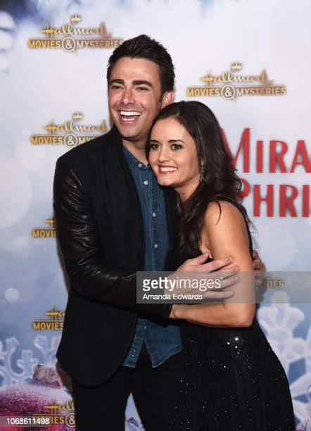 Actor Jonathan Bennett and actress Danica McKellar arrive at the Hallmark Channel 'Once Upon A Christmas Miracle' screening and holiday party at 189...