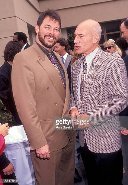 Actor Jonathan Frakes and actor Patrick Stewart attend the Star Trek 25th Anniversary Celebration on June 6 1991 at Paramount Pictures Studios in...