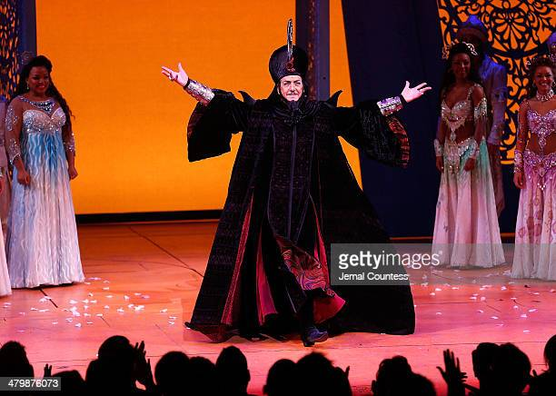 Actor Jonathan Freeman takes a bow during curtain call at the the Aladdin On Broadway Opening Night at New Amsterdam Theatre on March 20 2014 in New...