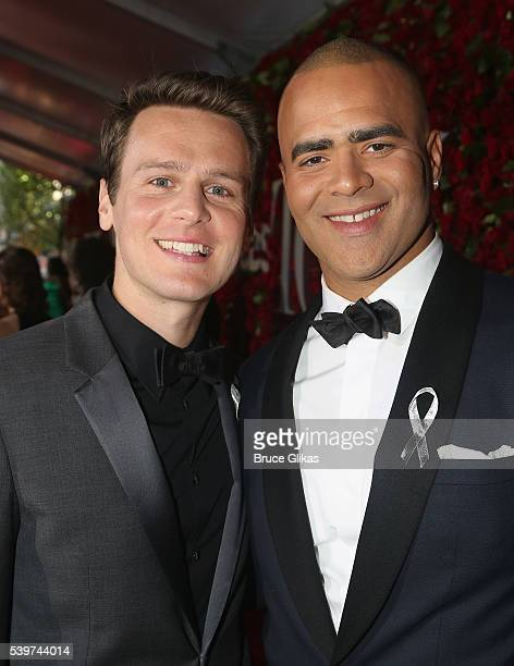 Actor Jonathan Groff and Christopher Jackson attend 70th Annual Tony Awards Arrivals at Beacon Theatre on June 12 2016 in New York City