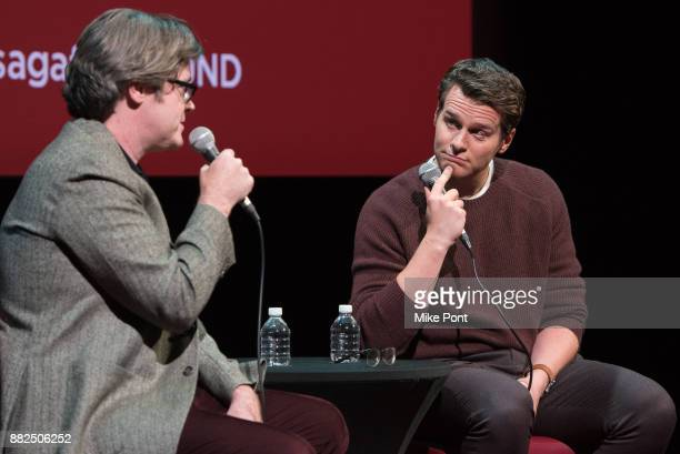 Actor Jonathan Groff and Moderator Bill Keith speak on stage during the SAGAFTRA Foundation Conversations 'Mindhunter' at SAGAFTRA Foundation Robin...