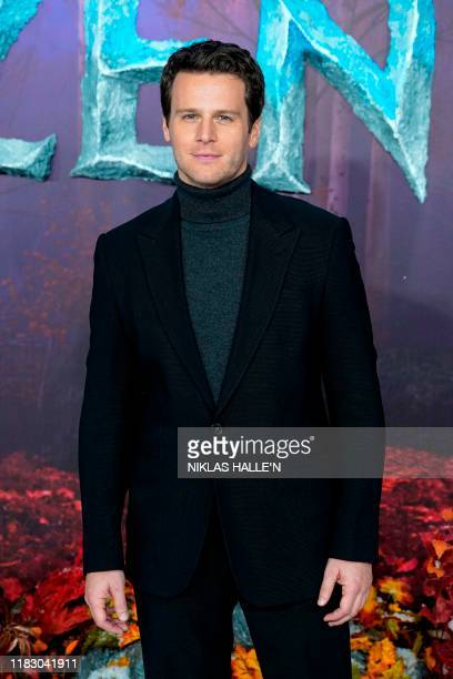 US actor Jonathan Groff poses on the red carpet as he arrives to attend the European premiere of the film Frozen 2 in London on November 17 2019