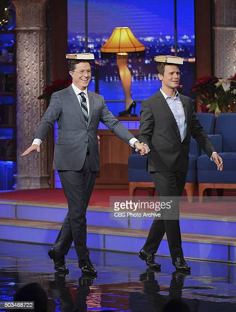 Actor Jonathan Groff teaches Stephen to walk like a king on The Late Show with Stephen Colbert Tuesday Dec 15 2015 on the CBS Television Network