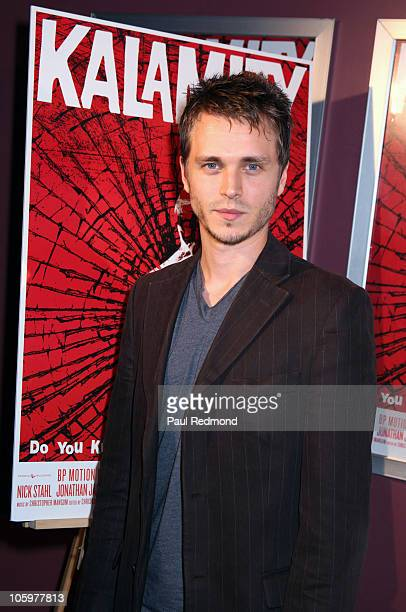 Actor Jonathan Jackson arrives at Kalamity Los Angeles Premiere at Laemmle Sunset 5 Theatre on October 22 2010 in West Hollywood California