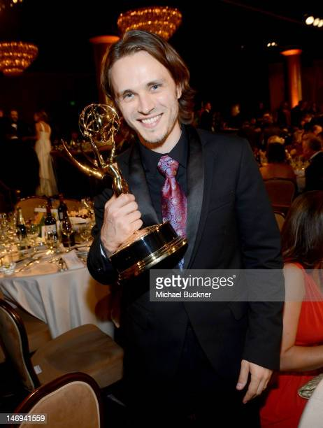 Actor Jonathan Jackson poses with the award for Outstanding Supporting Actor during The 39th Annual Daytime Emmy Awards broadcasted on HLN held at...