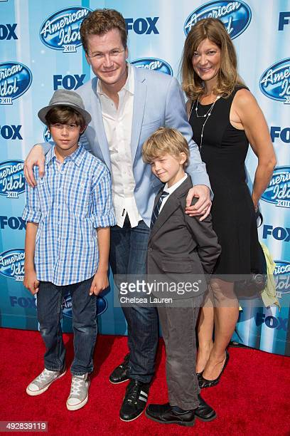 Actor Jonathan Mangum Leah Stanko Mangum Chase Mangum and Austin Mangum arrive at the American Idol XIII grand finale at Nokia Theatre LA Live on May...
