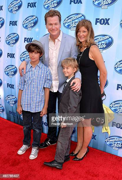 Actor Jonathan Mangum Leah Stanko Mangum Chase Mangum and Austin Mangum attend Fox's American Idol XIII Finale at Nokia Theatre LA Live on May 21...
