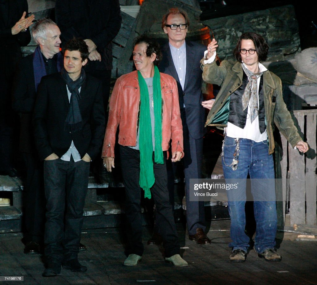 Actor Jonathan Pryce, actor Orlando Bloom, musician/actor Keith Richards, actor Bill Nighy, and actor Johnny Depp onstage before the premiere of Walt Disney's 'Pirates Of The Caribbean: At World's End' held at Disneyland on May 19, 2007 in Anaheim, California. Proceeds from the world premiere of Walt Disney's 'Pirates Of The Caribbean: At World's End' will benefit the Make-A-Wish Foundation of America and Make-A-Wish International.