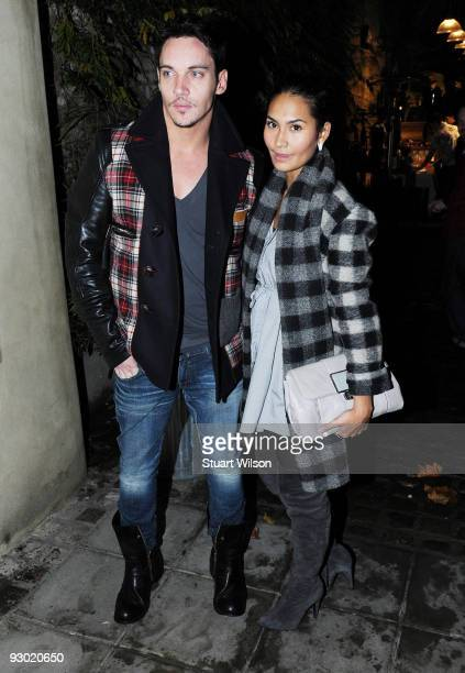 Actor Jonathan Rhys Meyers and Reena Hammer attend the Prince's Rainforest Project Reception at 'The Yard' on November 9 2009 in London England