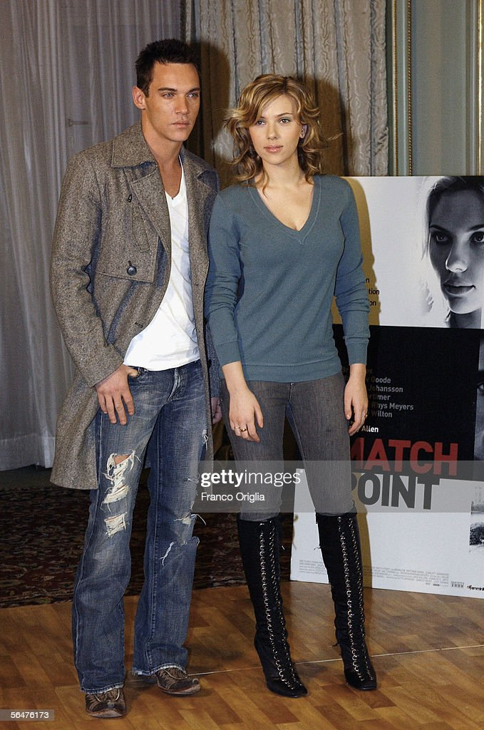 Actor Jonathan Rhys-Meyers and actress Scarlett Johansson attend a photocall to promote their new film 'Match Point' at the Hasler Hotel on December 21, 2005 in Rome, Italy.