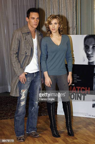 """Actor Jonathan Rhys-Meyers and actress Scarlett Johansson attend a photocall to promote their new film """"Match Point"""" at the Hasler Hotel on December..."""