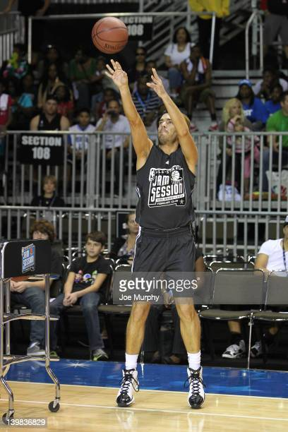 Actor Jonathan Scott shoots the ball during the Celebrity 3Point Contest on center court at Jam Session during the NBA AllStar Weekend on February 25...