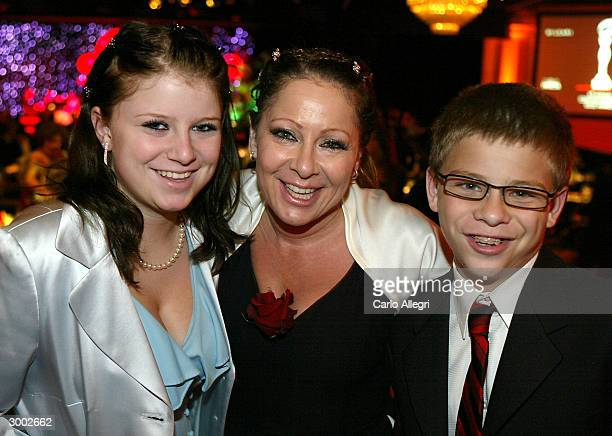 Actor Jonathon Lipnicky his sister Alexis with their mother Rhonda attend the 6th Annual Costume Guild Awards reception at the Beverly Hilton Hotel...