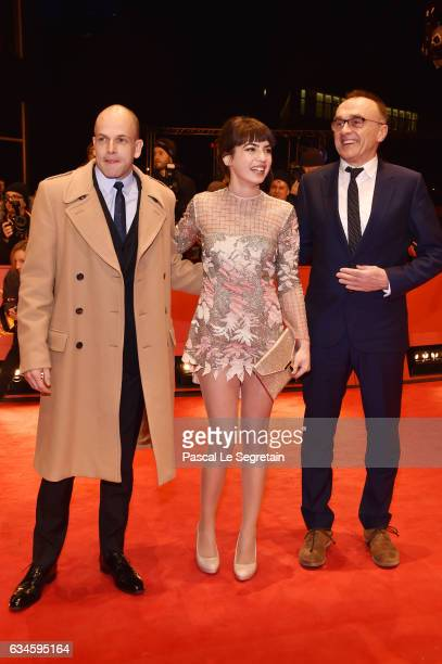 Actor Jonny Lee Miller actress Anjela Nedyalkova and Film director Danny Boyle attend the 'T2 Trainspotting' premiere during the 67th Berlinale...