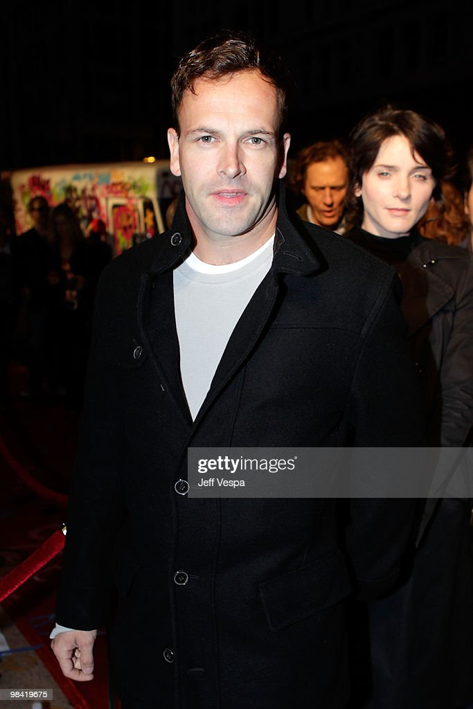 Actor Jonny Lee Miller arrives at Banksy's 'Exit Through The Gift Shop' premiere at Los Angeles Theatre on April 12, 2010 in Los Angeles, California.