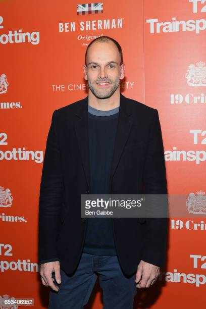 Actor Jonny Lee Miller attends a TriStar and Cinema Society screening of T2 Trainspotting at Landmark Sunshine Cinema on March 14 2017 in New York...