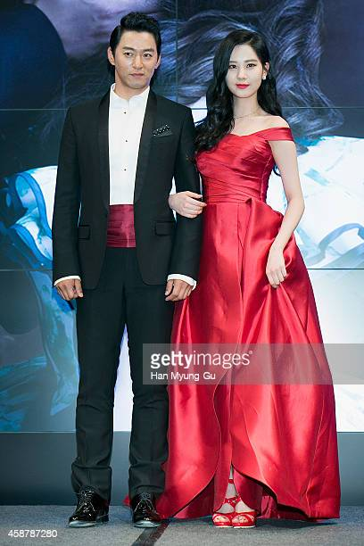 Actor Joo JinMo and Seohyun of South Korean girl group Girls' Generation attend the press conference for musical Gone With The Wind on November 10...