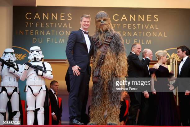 "Actor Joonas Suotamo and Chewbacca attend the screening of ""Solo: A Star Wars Story"" during the 71st annual Cannes Film Festival at Palais des..."