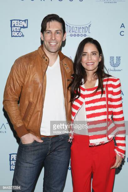 Actor Jordan Belfi and actress Ana Claudia Talancon attend a press conference to promote their new film American Curious at Stara Boutique Hotel on...