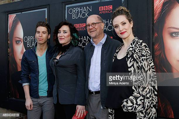 Actor Jordan Gavaris actress Maria Doyle Kennedy General Manager of BBC America Perry Simon and actress Evelyne Brochu attends the 'Orphan Black'...