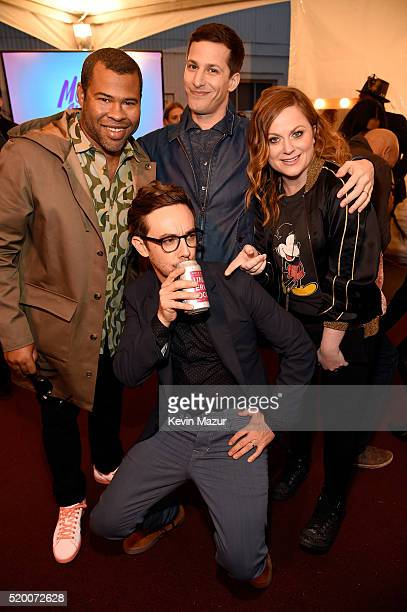 Actor Jordan Peele actor Andy Samberg actress Amy Poehler and actor Jorma Taccone attend the 2016 MTV Movie Awards at Warner Bros Studios on April 9...