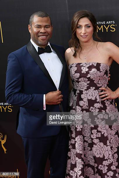 Actor Jordan Peele and Chelsea Peretti attend the 2016 Creative Arts Emmy Awards Day 2 at the Microsoft Theater on September 11 2016 in Los Angeles...