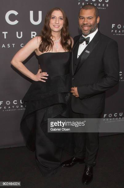 Actor Jordan Peele and Chelsea Peretti attend the Focus Features Golden Globe Awards After Party on January 7, 2018 in Beverly Hills, California.