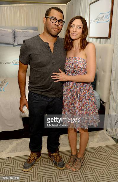 Actor Jordan Peele and comedian Chelsea Peretti got their beauty rest with Beautyrest Mattresses at EXTRA's 'WEEKEND OF | LOUNGE' produced by On 3...
