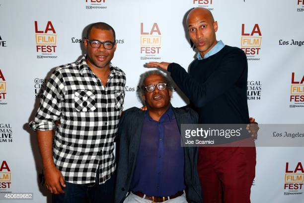 Actor Jordan Peele film critic Elvis Mitchell and actor KeeganMichael Key attend Funny Talk A Conversation With Key and Peele during the 2014 Los...