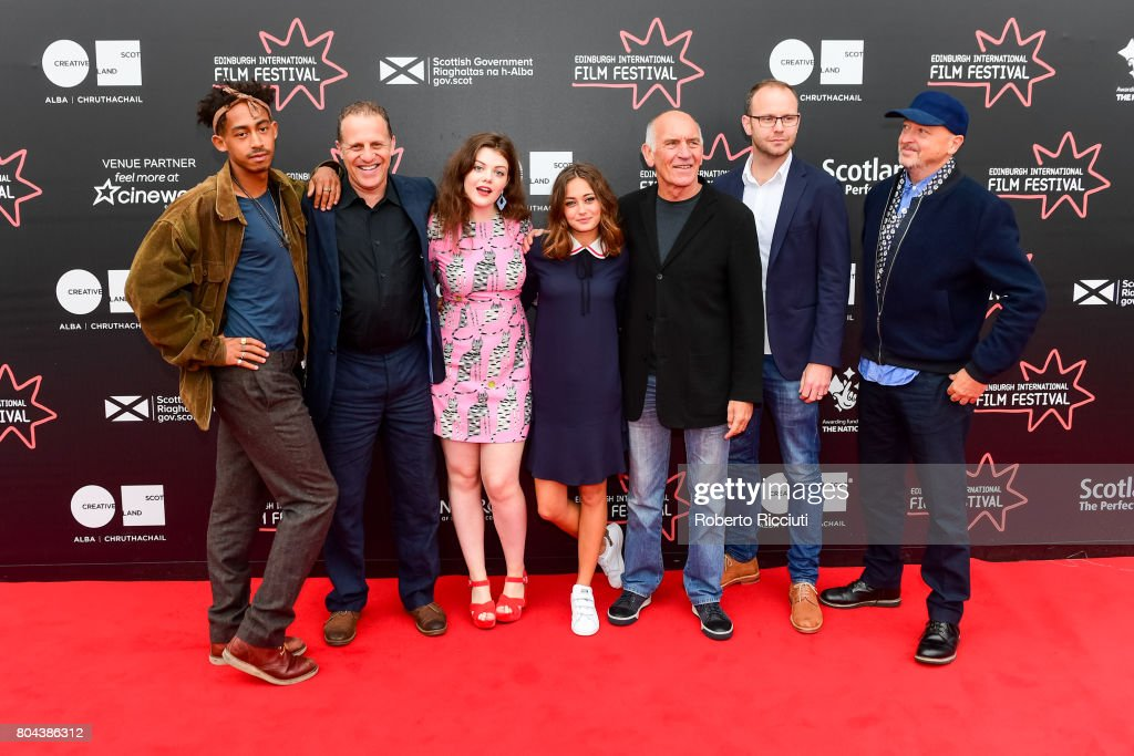 Actor Jordan Stephens, actor Nigel Lindsay, actress Georgie Henley, actress Ella Purnell, producer Bill Curbishley, writer Oliver Veysey and director Bryan Higgins attend a photocall for the World Premiere of 'Access All Areas' during the 71st Edinburgh International Film Festival at Cineworld on June 30, 2017 in Edinburgh, Scotland.