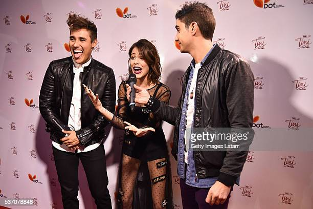 Actor Jorge Blanco Actress Martina Stoessel and TV host Dany Martins attends TINI El Gran Cambio de Violetta The Avant Premiere on May 31 2016 in...