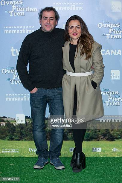 Actor Jorge Bosch and actress Candela Pena pose during a photocall to present 'Las Ovejas No Pierden El Tren' at 'Palafox' cinema on January 27 2015...