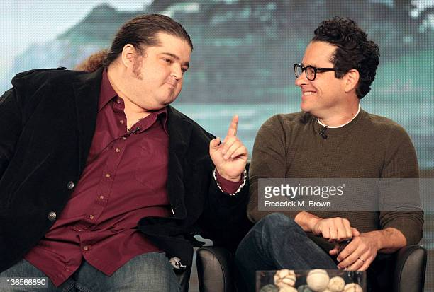 Actor Jorge Garcia and executive producer J.J. Abrams speak onstage during the 'Alcatraz' panel during the FOX Broadcasting Company portion of the...
