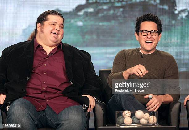 Actor Jorge Garcia and executive producer JJ Abrams speak onstage during the 'Alcatraz' panel during the FOX Broadcasting Company portion of the 2012...