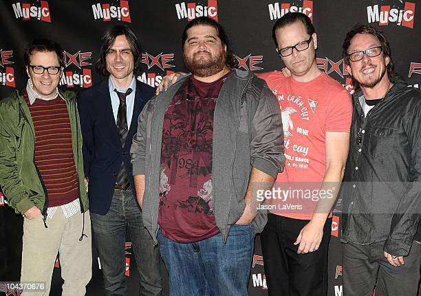 "Actor Jorge Garcia and Rivers Cuomo, Brian Bell, Patrick Wilson and Scott Shriner of Weezer attend the AXE Music ""One Night Only"" concert series at..."