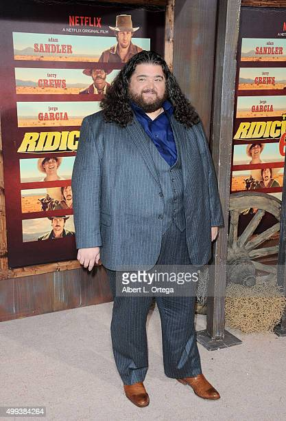 Actor Jorge Garcia arrives for the premiere of Netflix's The Ridiculous 6 held at AMC Universal City Walk on November 30 2015 in Universal City...