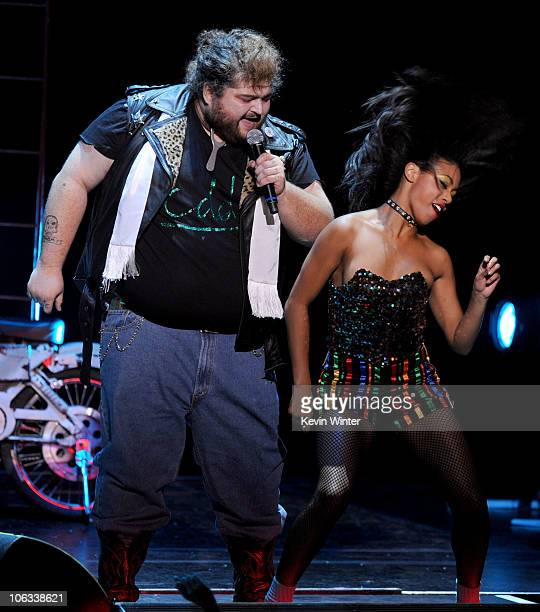Actor Jorge Garcia performs onstage during The Rocky Horror Picture Show 35th anniversary to benefit The Painted Turtle at The Wiltern on October 28...
