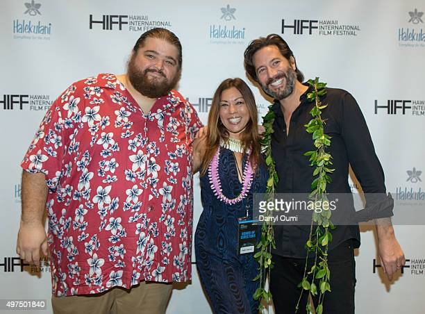 Actor Jorge Garcia , producer Angie Laperte and actor Henry Ian Cusick arrive at the 2015 Hawaii International Film Festival for the world premiere...