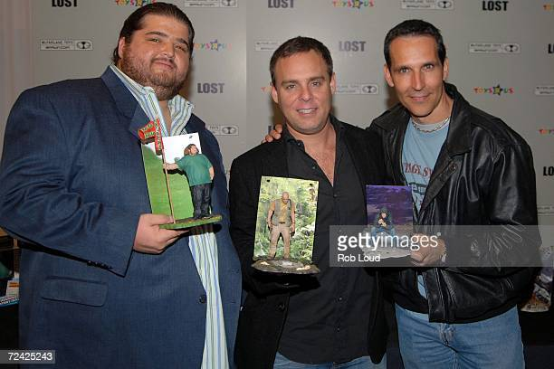 Actor Jorge Garcia producer Bryan Burk and Todd McFarlane from McFarlane Toys promote the new McFarlane Toys Lost action figures at Toys R Us on...