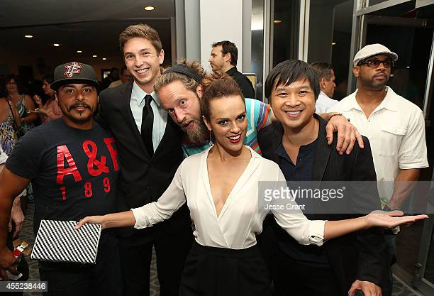 Actor Jorge Rodarte producer Jake Katofsky actor Josh Blue actress Erin Cahill and actor Dat Phan attend the 108 Stitches Screening Party Screening...