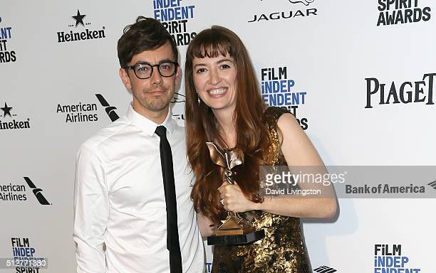 Actor Jorma Taccone and director Marielle Heller attends 2016 Film Independent Spirit Awards Press Room on February 27 2016 in Santa Monica California