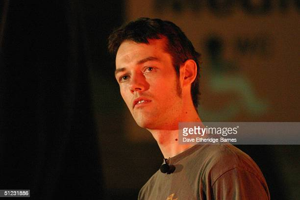 Actor Jorn Benzon addresses the audience at The Fellowship Festival 2004 aimed at J R R Tolkien fans at Alexandra Palace on August 28 2004 in London...