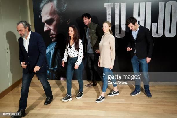 Actor Jose Coronado actress Asia Ortega director Miguel Angel Vivas actress Ester Exposito and actor Pol Monen attend 'Tu Hijo' photocall at Urso...