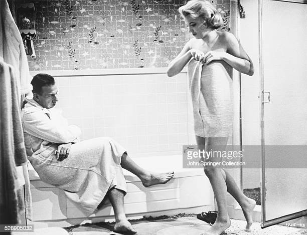 Actor Jose Ferrer and actress Gena Rowlands in a bathroom in 1958 film The High Cost of Love Ferrer plays depressed manager Jim Fry and Rowlands his...